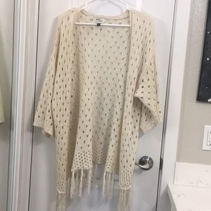 beige crocheted cardigan